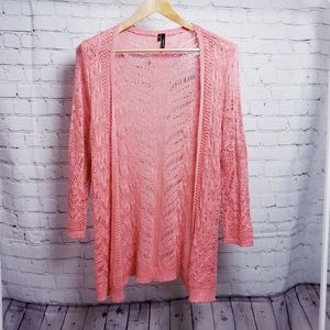 Maurices Long Pointelle Open Cardigan Sweater Pink